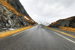 Mountain Norway road and scenic landscape of Lofoten islands. Royalty Free Stock Photography