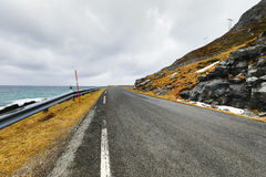 Mountain Norway road and scenic landscape of Lofoten islands. Royalty Free Stock Photos