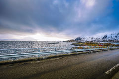Mountain Norway road and scenic landscape of Lofoten islands. Stock Images