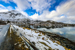 Mountain Norway road and scenic landscape of Lofoten islands. Stock Image