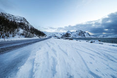 Mountain Norway road and scenic landscape of Lofoten islands. Stock Photography