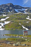 Mountain of Norway. Shed near the water in the mountain of Haukeli in Norway. Røldal. water landscape royalty free stock photos