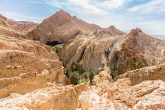 Mountain oasis Chebika in Sahara desert, Tunisia Royalty Free Stock Photos