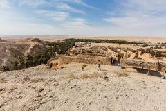 Mountain oasis Chebika in Sahara desert, Tunisia Royalty Free Stock Images