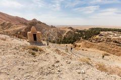 Mountain oasis Chebika in Sahara desert, Tunisia Royalty Free Stock Photos