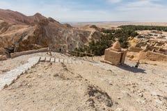 Mountain oasis Chebika in Sahara desert, Tunisia Stock Photography