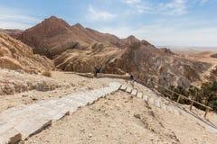 Mountain oasis Chebika in Sahara desert, Tunisia Stock Photos