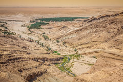 Mountain oasis Tamerza in Tunisia near the border with Algeria. Stock Photos