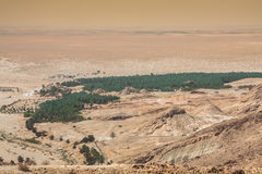 Mountain oasis Tamerza in Tunisia near the border with Algeria. Stock Photo