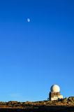 Mountain Observatory. View of an old observatory in the mountain against a deep blue sky and a rising moon Stock Photography
