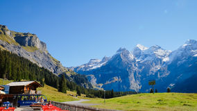 Mountain in Oeschinensee Oeschinen lake. The panorama in summer Mountain in Oeschinensee Oeschinen lake Royalty Free Stock Photography