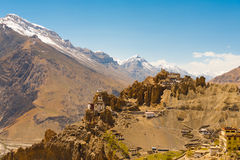 Mountain Old Dhankar Cliff Monastery Spiti Valley Stock Image