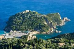 Mountain with old monastery near Paleokastritsa - Corfu, Greece Stock Photo