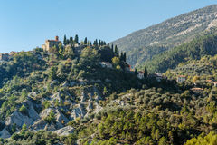 Mountain old village Coaraze, Provence Alpes Cote d'Azur Royalty Free Stock Images