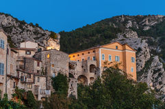Mountain old village Peille, Provence Alpes, . Night view Royalty Free Stock Photography