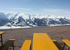 Mountain open air restaurant. Zell am See skiing resort, Alps. Royalty Free Stock Photo