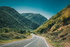 Mountain Open Road Landscape In Imereti Region, Khoni District,. Region, Georgia. Country Road In On Summer Sunny Day. Travel Concept royalty free stock photo