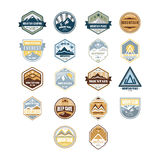 Mountain and Outdoor Adventure Vintage Emblems Royalty Free Stock Image