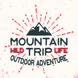 Mountain outdoor adventure vintage stamp Stock Images