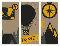 Mountain outdoor vector camping travel flayer hand drawn cards climbing hiking badges peak extreme illustration. Stock Photos