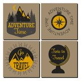 Mountain outdoor vector camping travel flayer hand drawn cards climbing hiking badges peak extreme illustration. Stock Images