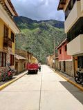 Mountain over Peruvian Street Royalty Free Stock Photography
