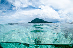 Mountain over the sea view bunaken sulawesi indonesia underwater Royalty Free Stock Images
