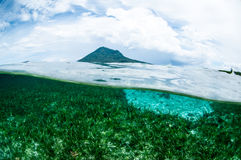 Mountain over the sea view bunaken sulawesi indonesia underwater Stock Images