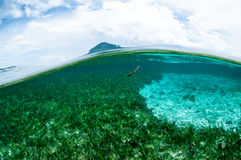 Mountain over the sea view bunaken sulawesi indonesia underwater Stock Photo