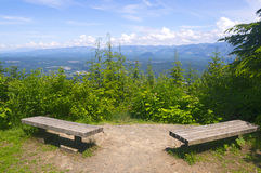 Mountain Overlook with Benches Royalty Free Stock Image
