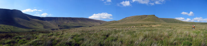 Mountain panaramic. A panaramic made using Canon Photostich, taken in the Brecon Beacons in South Wales Stock Image
