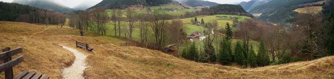 Mountain panorama. Bavarian Alps in late autumn, panorama royalty free stock photography