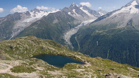 Mountain panorama. With a lake in the foreground Stock Image