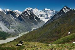 Mountain panorama. Highest peak of Siberia- Belukha Stock Photography