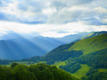 Mountain panorama. From alpine meadows in the Caucasus Mountains Royalty Free Stock Photo