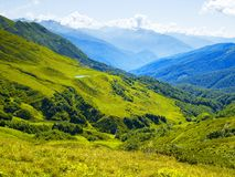 Mountain panorama. From alpine meadows in the Caucasus Mountains Royalty Free Stock Photos