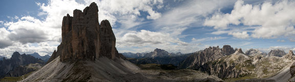 Mountain panorama  3 tre cime lavaredo drei zinnen Royalty Free Stock Photo
