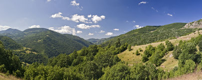 Mountain panorama. Summer day mountain panorama with forests Royalty Free Stock Image