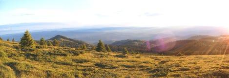 Mountain panorama. Sunny mountain panorama stock photos