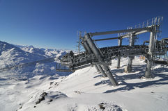 Mountain panorama. Image of lift system in Val Thorens, France Stock Photography