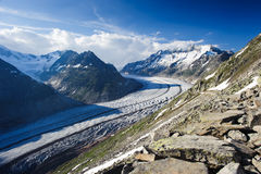 Mountain panorama of Aletsch glacier. With Schoenenbuelhorn (3854m) and Wannenhorn (3906m). View from Bettmerhorn. Part of the Jungfrau-Aletsch UNESCO World stock photography