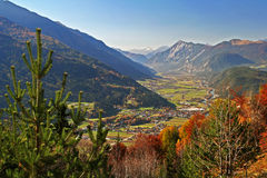 Mountain panorama in Alps. Mountain panorama with Alps in Austria. Valley view Royalty Free Stock Photo