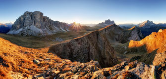 Mountain panorama at autumn sunrise, Dolomites, Italy, Mt. Pelmo Royalty Free Stock Photo