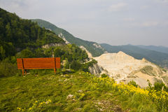 Mountain panorama with bench Royalty Free Stock Images