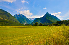 Mountain panorama with blue cloudy sky and meadow Stock Photo