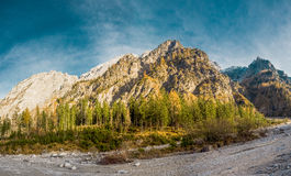 Mountain Panorama with blue sky. Wonderful Mountain Panorama from the Watzmann in Austria Stock Photography