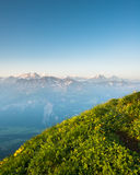 Mountain panorama from Brienzer Rothorn Royalty Free Stock Photos