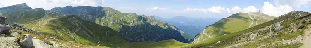 Mountain panorama from Bucegi. A mountain panorama from Bucegi near Padina cabana in morning stock image