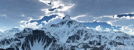 Mountain panorama with a cloudy sky stock illustration