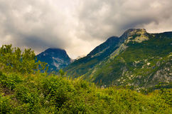Mountain panorama with cloudy sky before storm Royalty Free Stock Photography